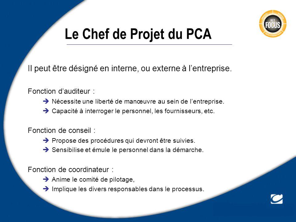 Le Chef de Projet du PCA Il peut être désigné en interne, ou externe à lentreprise. Fonction dauditeur : Nécessite une liberté de manœuvre au sein de