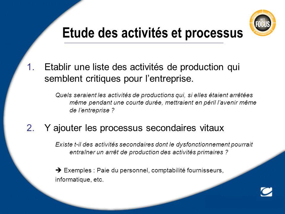 Etude des activités et processus 1.Etablir une liste des activités de production qui semblent critiques pour lentreprise. Quels seraient les activités
