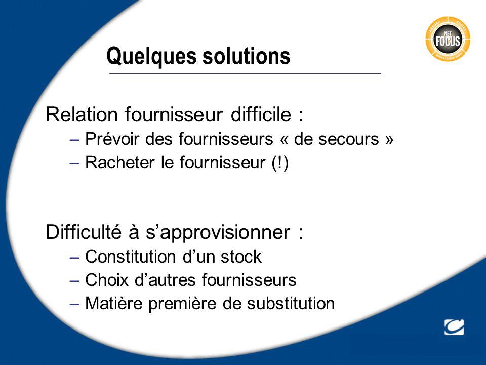 Quelques solutions Relation fournisseur difficile : –Prévoir des fournisseurs « de secours » –Racheter le fournisseur (!) Difficulté à sapprovisionner