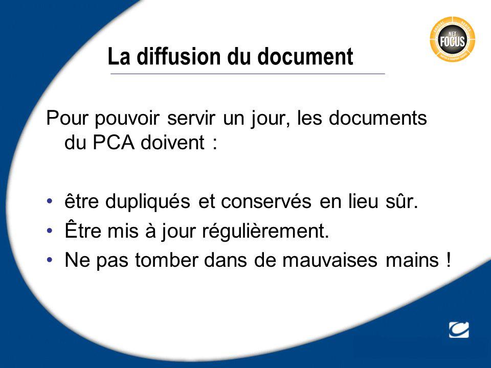 La diffusion du document Pour pouvoir servir un jour, les documents du PCA doivent : être dupliqués et conservés en lieu sûr. Être mis à jour régulièr