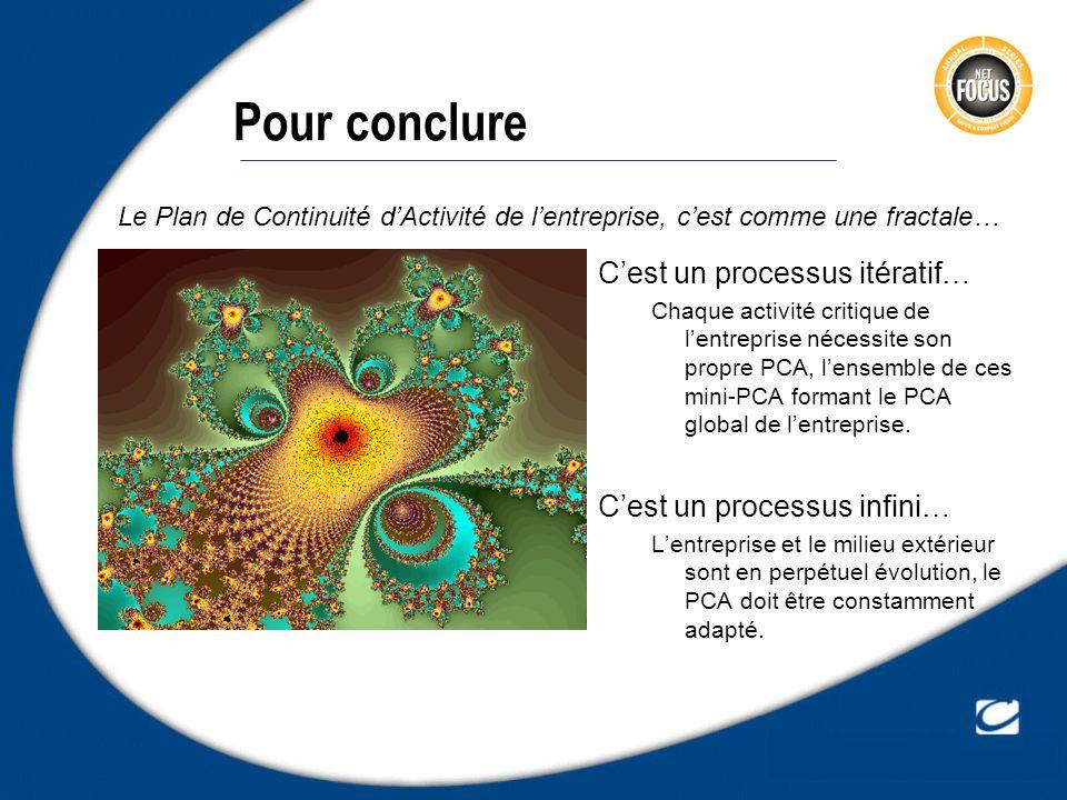 Pour conclure Cest un processus itératif… Chaque activité critique de lentreprise nécessite son propre PCA, lensemble de ces mini-PCA formant le PCA g