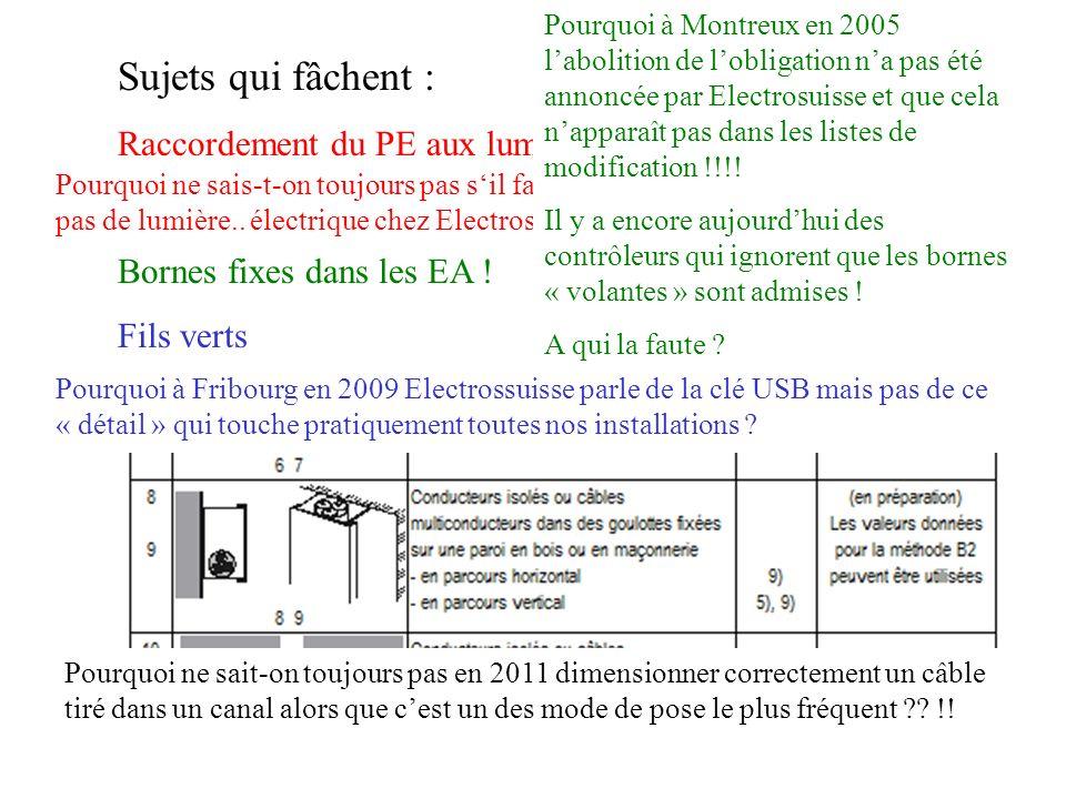 Sujets qui fâchent : Raccordement du PE aux luminaires ? Bornes fixes dans les EA ! Fils verts Pourquoi ne sais-t-on toujours pas sil faut un PE ou pa