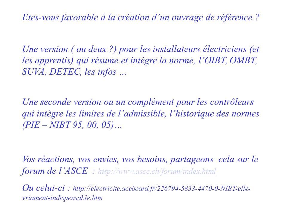 Etes-vous favorable à la création dun ouvrage de référence ? Une version ( ou deux ?) pour les installateurs électriciens (et les apprentis) qui résum