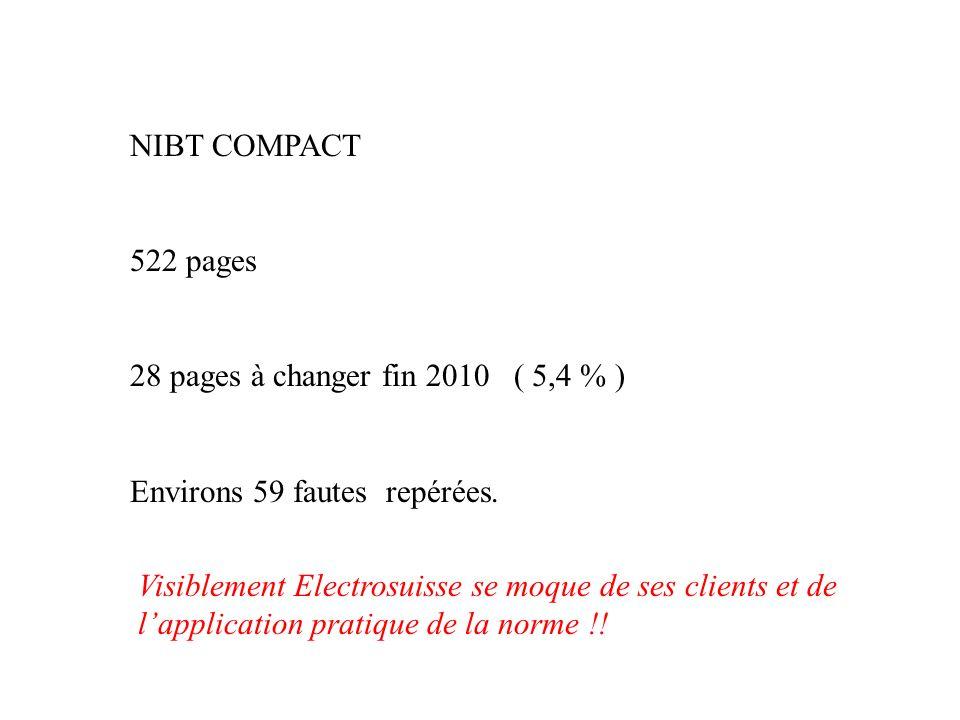 NIBT COMPACT 522 pages 28 pages à changer fin 2010 ( 5,4 % ) Environs 59 fautes repérées. Visiblement Electrosuisse se moque de ses clients et de lapp