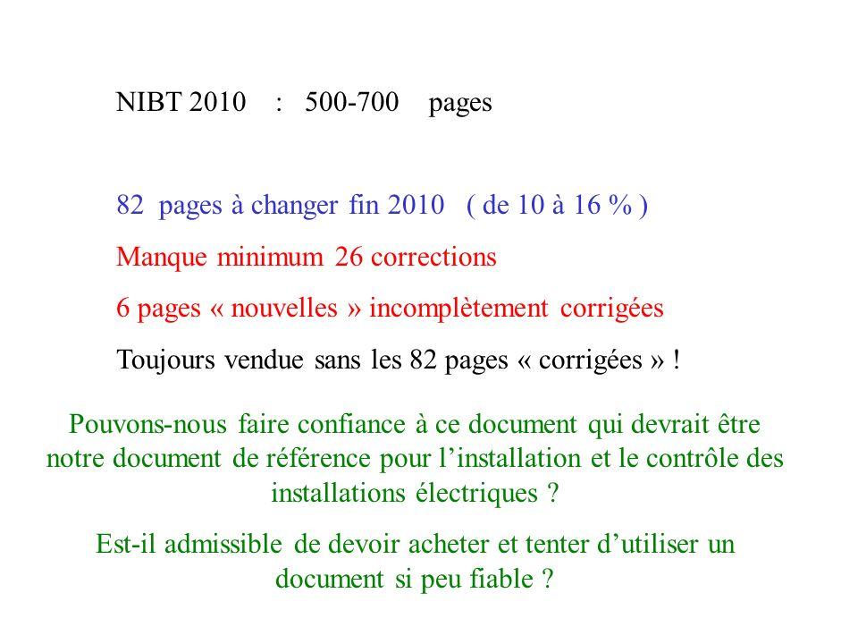 NIBT 2010 : 500-700 pages 82 pages à changer fin 2010 ( de 10 à 16 % ) Manque minimum 26 corrections 6 pages « nouvelles » incomplètement corrigées To