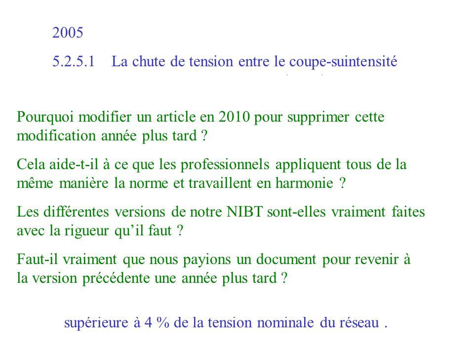 2005 5.2.5.1 La chute de tension entre le coupe-suintensité général et un récepteur d'énergie ne devrait pas être supérieure à 4 % de la tension nomin