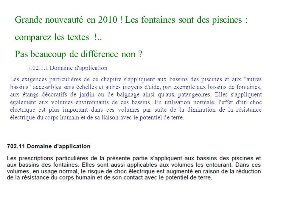 7.02.1.1 Domaine d'application Les exigences particulières de ce chapitre s'appliquent aux bassins des piscines et aux