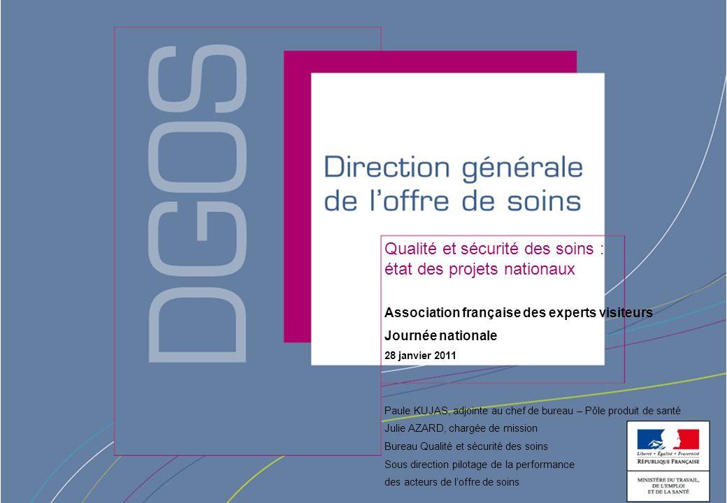 Direction générale de loffre de soins - DGOS Qualité et sécurité des soins : état des projets nationaux Association française des experts visiteurs Jo