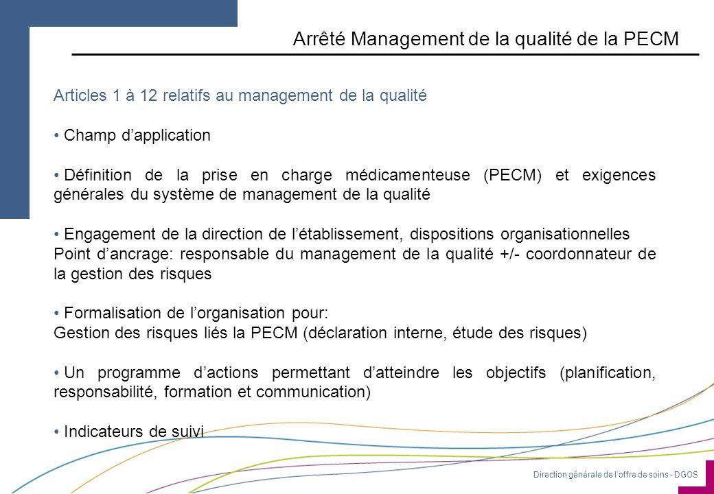 Direction générale de loffre de soins - DGOS Arrêté Management de la qualité de la PECM Articles 1 à 12 relatifs au management de la qualité Champ dap
