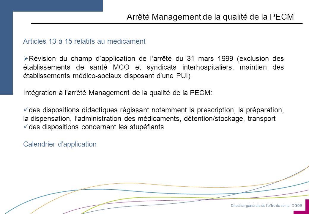 Direction générale de loffre de soins - DGOS Arrêté Management de la qualité de la PECM Articles 13 à 15 relatifs au médicament Révision du champ dapp