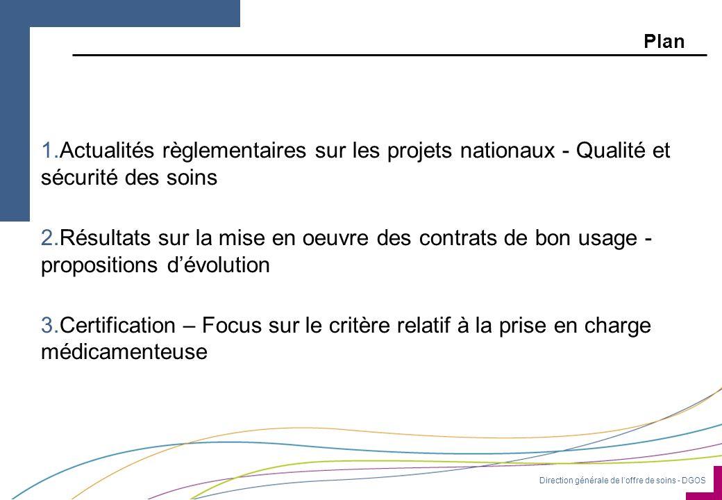 Direction générale de loffre de soins - DGOS Plan 1.Actualités règlementaires sur les projets nationaux - Qualité et sécurité des soins 2.Résultats su