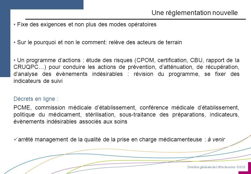 Direction générale de loffre de soins - DGOS Une réglementation nouvelle Fixe des exigences et non plus des modes opératoires Sur le pourquoi et non l