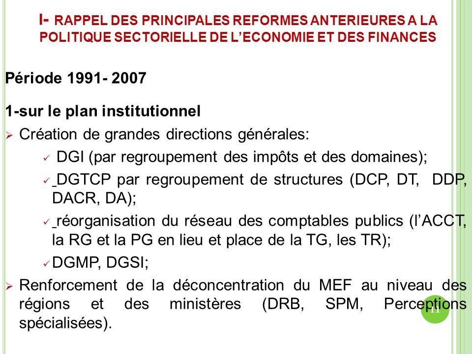 I - RAPPEL DES PRINCIPALES REFORMES ANTERIEURES A LA POLITIQUE SECTORIELLE DE LECONOMIE ET DES FINANCES Période 1991- 2007 1-sur le plan institutionne