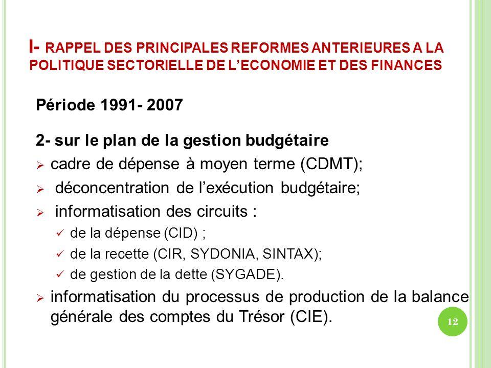 I- RAPPEL DES PRINCIPALES REFORMES ANTERIEURES A LA POLITIQUE SECTORIELLE DE LECONOMIE ET DES FINANCES Période 1991- 2007 2- sur le plan de la gestion