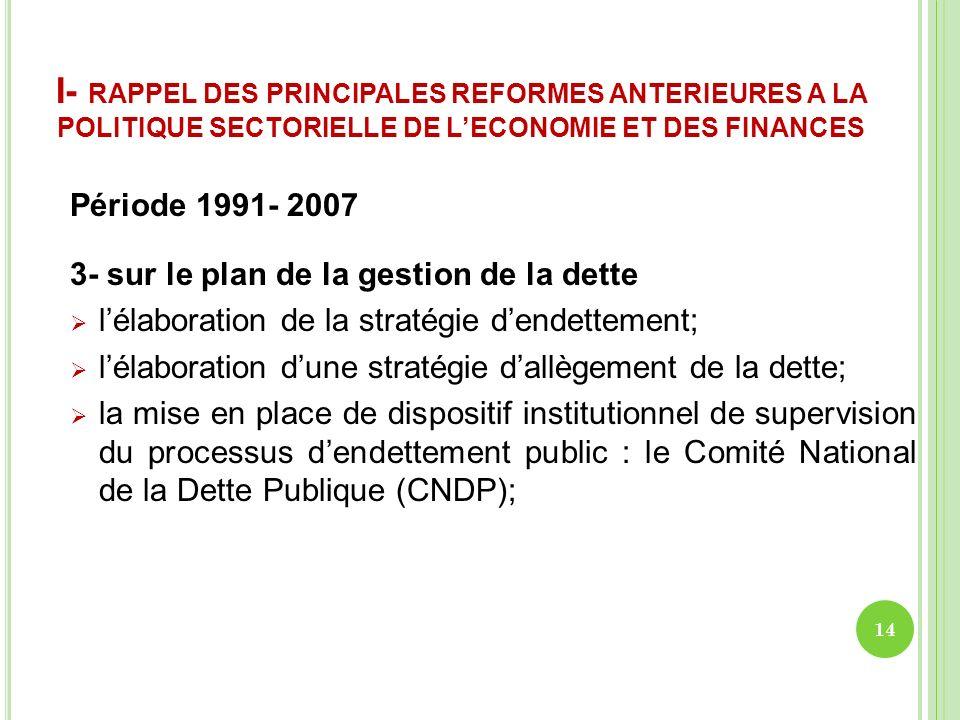 I- RAPPEL DES PRINCIPALES REFORMES ANTERIEURES A LA POLITIQUE SECTORIELLE DE LECONOMIE ET DES FINANCES Période 1991- 2007 3- sur le plan de la gestion