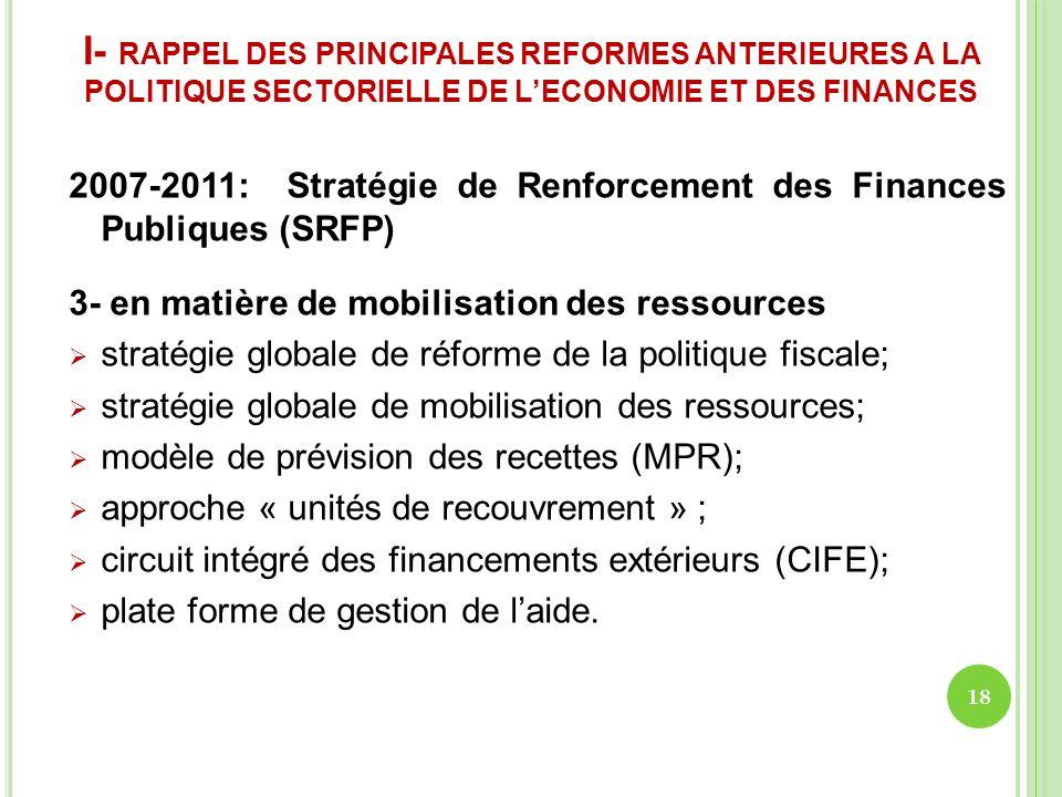 I- RAPPEL DES PRINCIPALES REFORMES ANTERIEURES A LA POLITIQUE SECTORIELLE DE LECONOMIE ET DES FINANCES 2007-2011: Stratégie de Renforcement des Financ