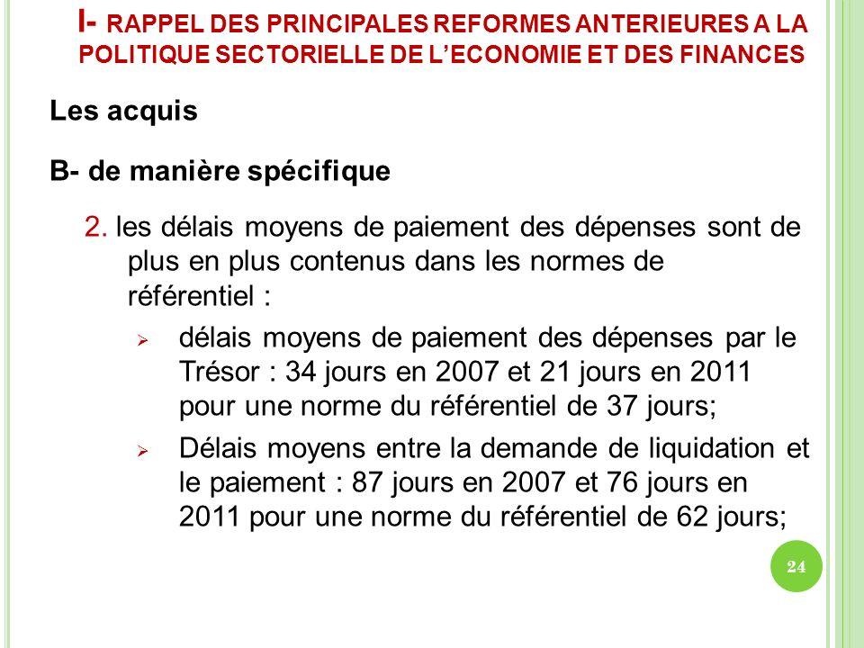 I- RAPPEL DES PRINCIPALES REFORMES ANTERIEURES A LA POLITIQUE SECTORIELLE DE LECONOMIE ET DES FINANCES Les acquis B- de manière spécifique 2. les déla