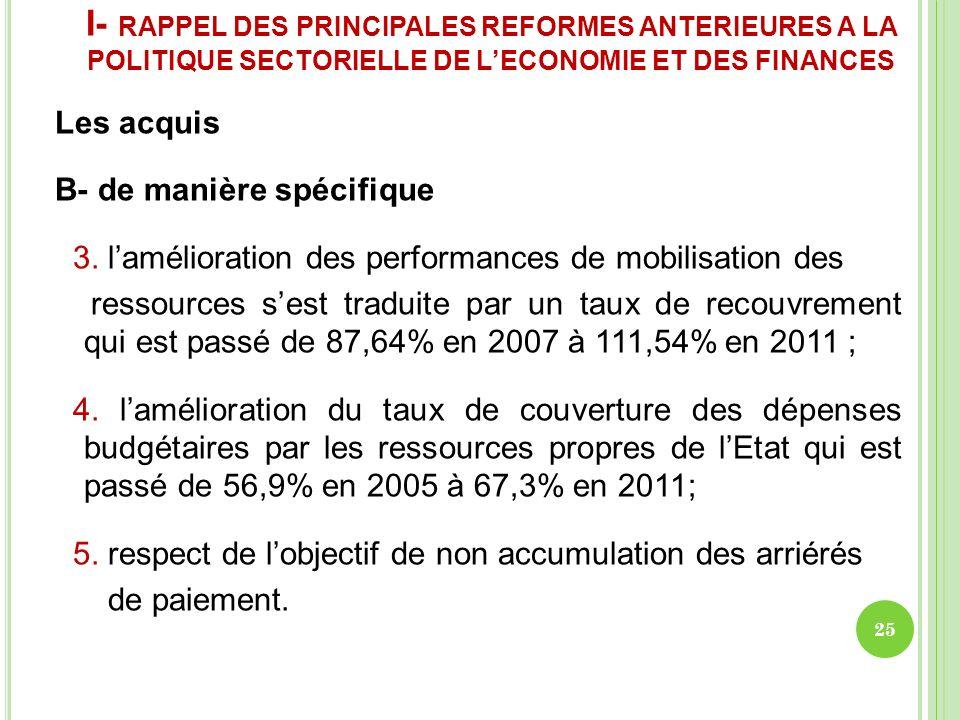 I- RAPPEL DES PRINCIPALES REFORMES ANTERIEURES A LA POLITIQUE SECTORIELLE DE LECONOMIE ET DES FINANCES Les acquis B- de manière spécifique 3. lamélior