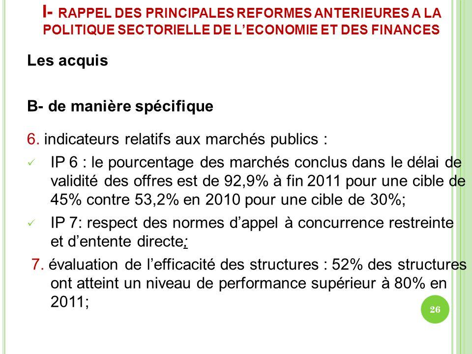 I- RAPPEL DES PRINCIPALES REFORMES ANTERIEURES A LA POLITIQUE SECTORIELLE DE LECONOMIE ET DES FINANCES Les acquis B- de manière spécifique 6. indicate