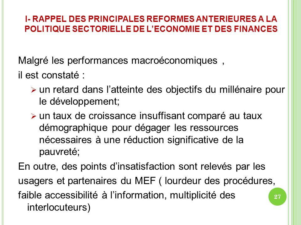 I- RAPPEL DES PRINCIPALES REFORMES ANTERIEURES A LA POLITIQUE SECTORIELLE DE LECONOMIE ET DES FINANCES Malgré les performances macroéconomiques, il es