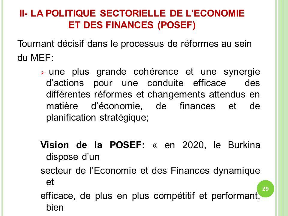 II- LA POLITIQUE SECTORIELLE DE LECONOMIE ET DES FINANCES (POSEF) Tournant décisif dans le processus de réformes au sein du MEF: une plus grande cohér