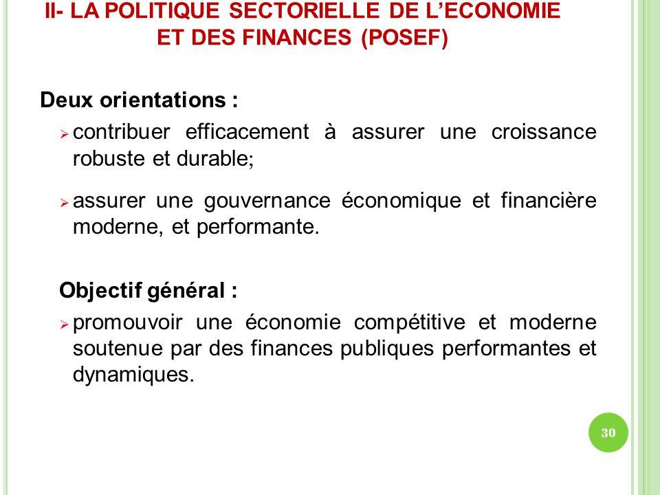 II- LA POLITIQUE SECTORIELLE DE LECONOMIE ET DES FINANCES (POSEF) Deux orientations : contribuer efficacement à assurer une croissance robuste et dura