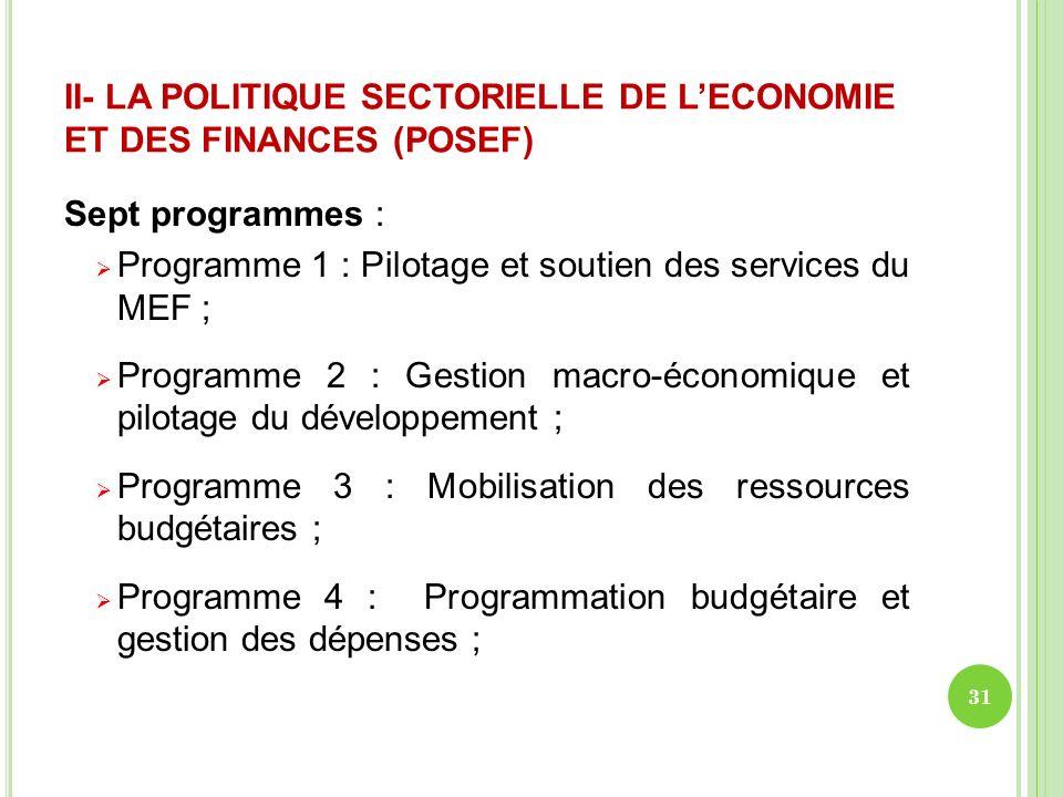 II- LA POLITIQUE SECTORIELLE DE LECONOMIE ET DES FINANCES (POSEF) Sept programmes : Programme 1 : Pilotage et soutien des services du MEF ; Programme