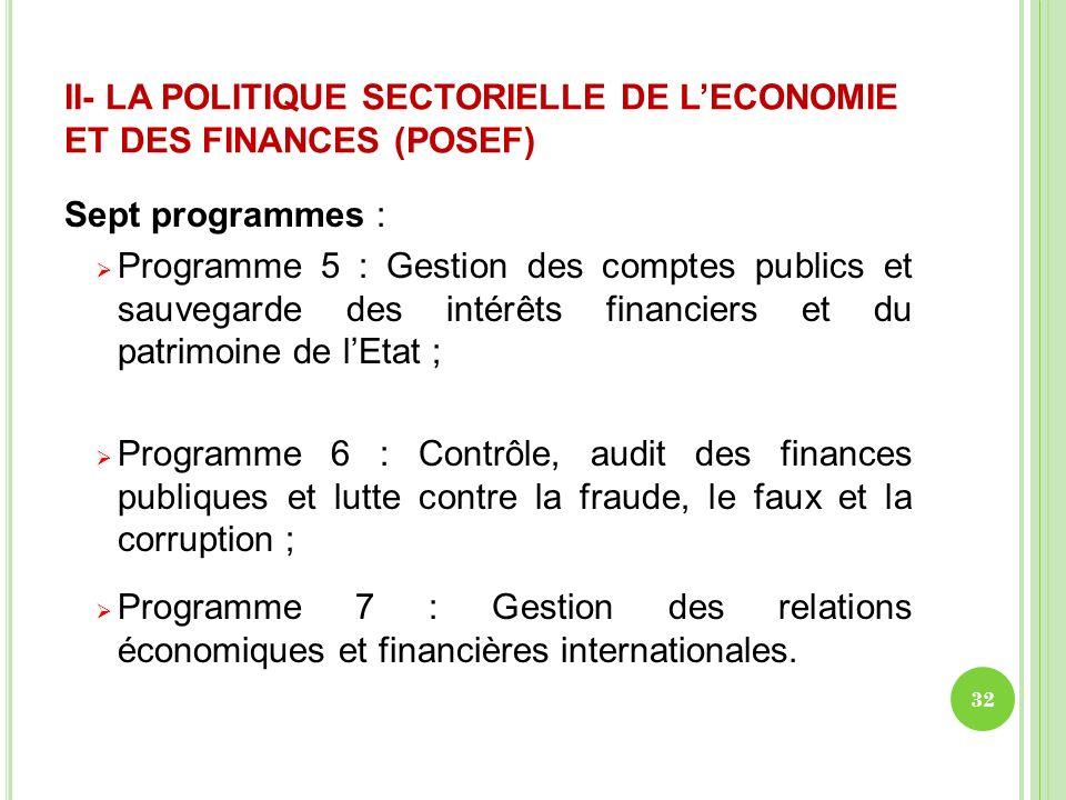 II- LA POLITIQUE SECTORIELLE DE LECONOMIE ET DES FINANCES (POSEF) Sept programmes : Programme 5 : Gestion des comptes publics et sauvegarde des intérê