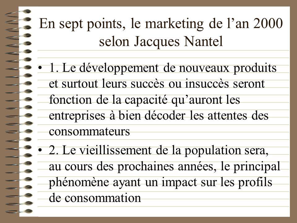 En sept points, le marketing de lan 2000 selon Jacques Nantel 1. Le développement de nouveaux produits et surtout leurs succès ou insuccès seront fonc