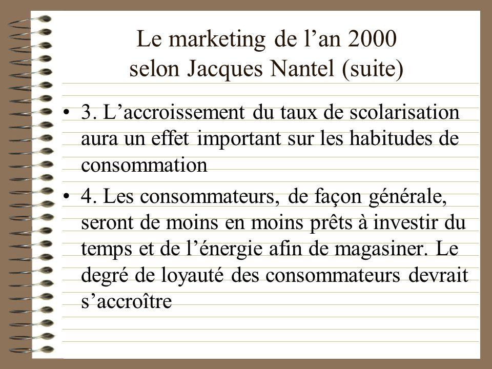 Le marketing de lan 2000 selon Jacques Nantel (suite) 3. Laccroissement du taux de scolarisation aura un effet important sur les habitudes de consomma