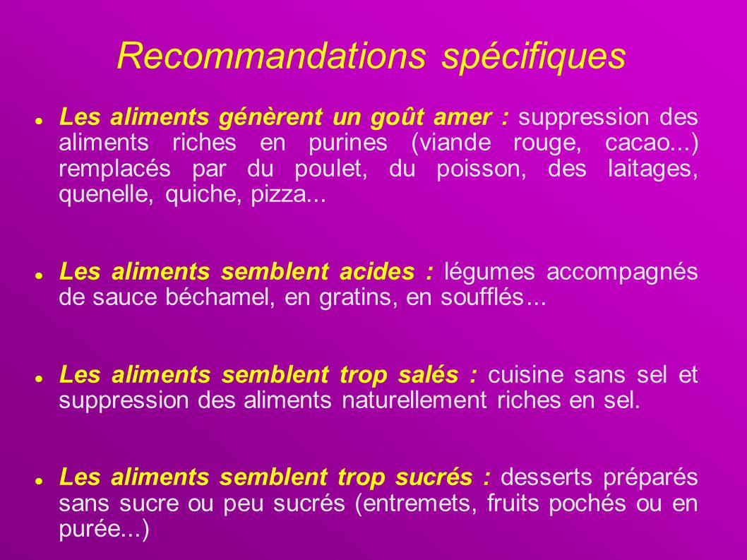 Les aliments génèrent un goût amer : suppression des aliments riches en purines (viande rouge, cacao...) remplacés par du poulet, du poisson, des lait