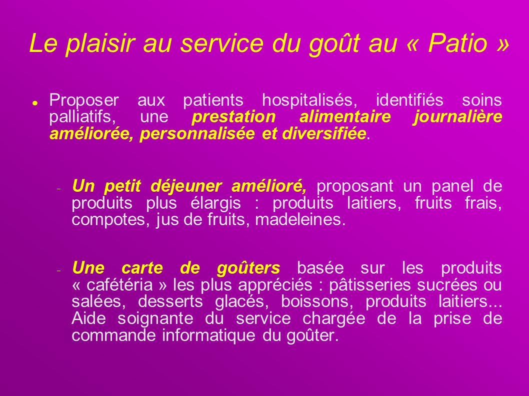 Le plaisir au service du goût au « Patio » Proposer aux patients hospitalisés, identifiés soins palliatifs, une prestation alimentaire journalière amé