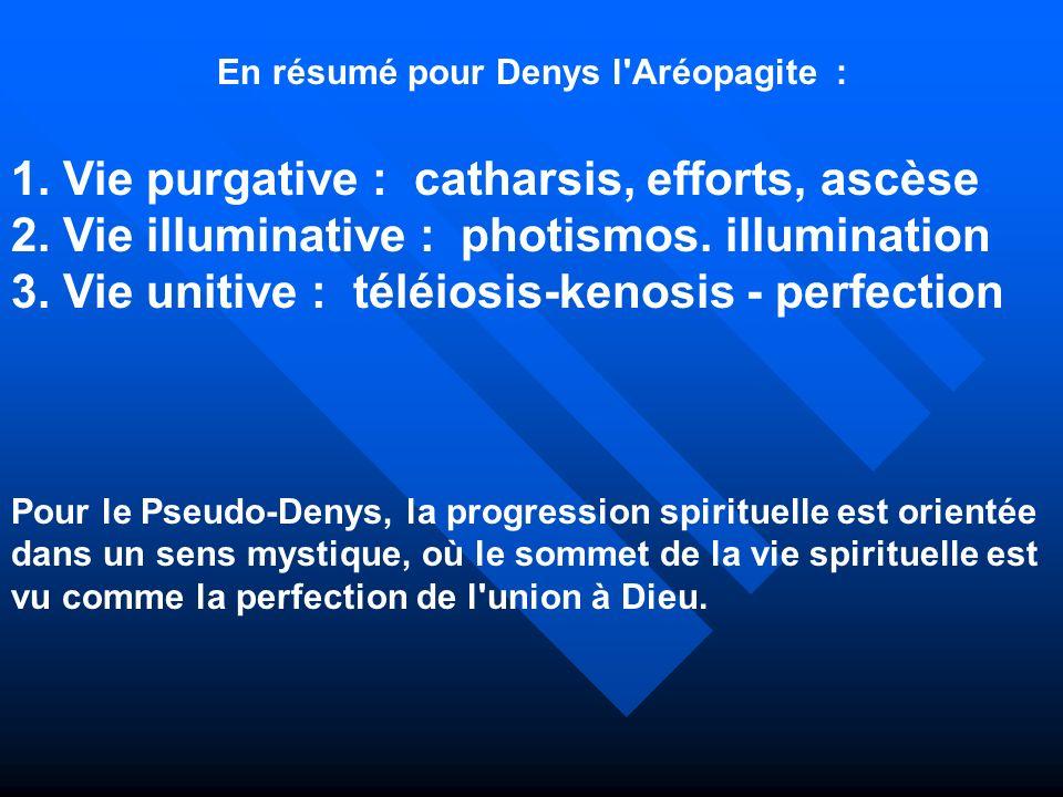 En résumé pour Denys l'Aréopagite : 1. Vie purgative : catharsis, efforts, ascèse 2. Vie illuminative : photismos. illumination 3. Vie unitive : téléi