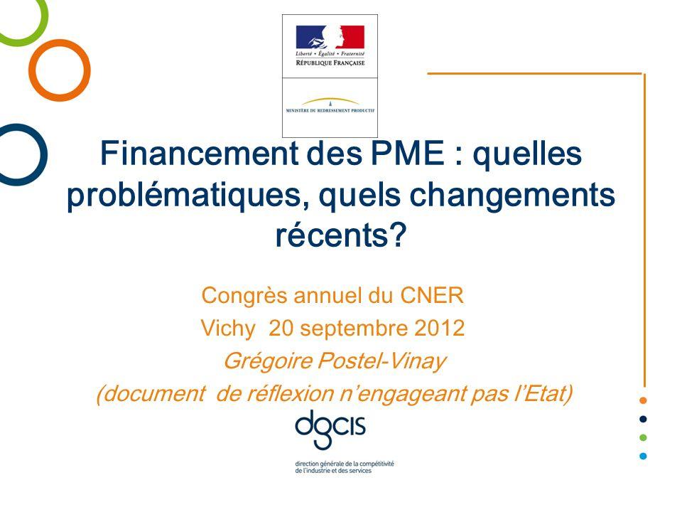 Financement des PME : quelles problématiques, quels changements récents? Congrès annuel du CNER Vichy 20 septembre 2012 Grégoire Postel-Vinay (documen