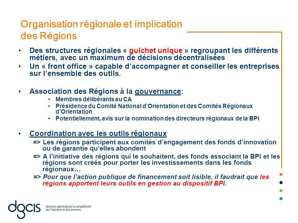 Organisation régionale et implication des Régions Des structures régionales « guichet unique » regroupant les différents métiers, avec un maximum de d