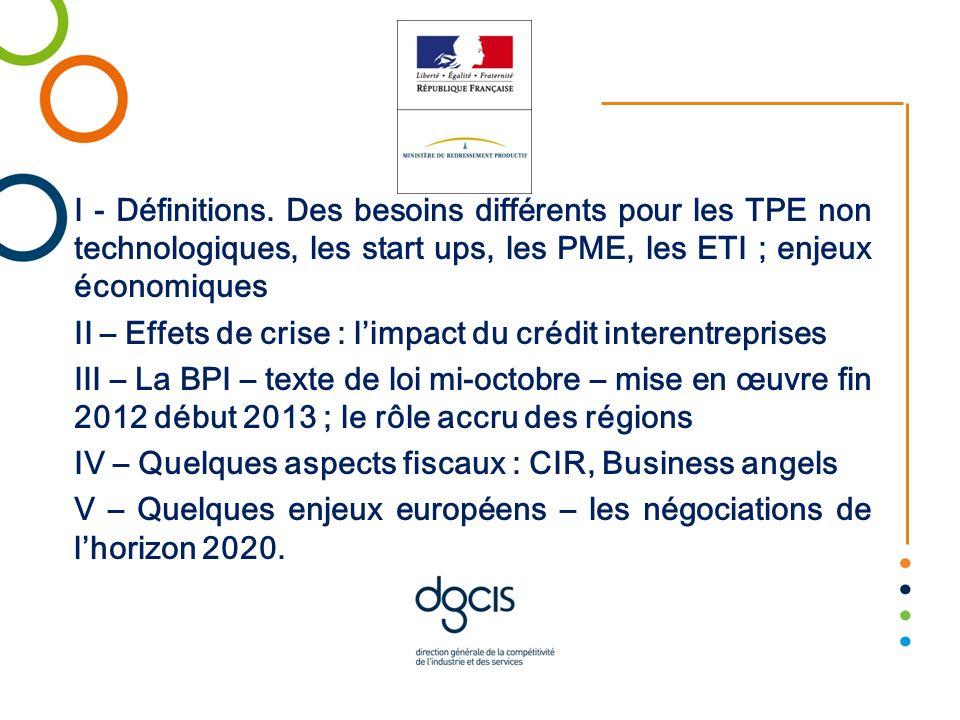 I - Définitions. Des besoins différents pour les TPE non technologiques, les start ups, les PME, les ETI ; enjeux économiques II – Effets de crise : l