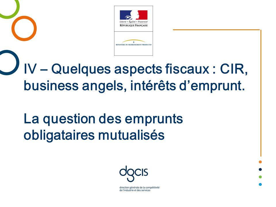 IV – Quelques aspects fiscaux : CIR, business angels, intérêts demprunt. La question des emprunts obligataires mutualisés