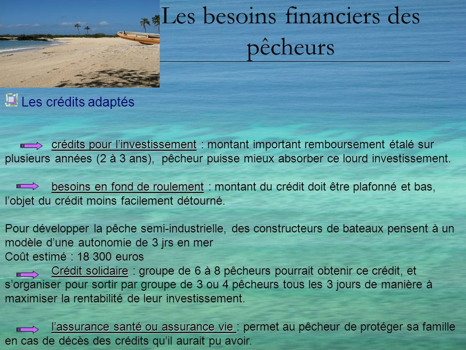Les besoins financiers des pêcheurs Les crédits adaptés crédits pour linvestissement crédits pour linvestissement : montant important remboursement ét