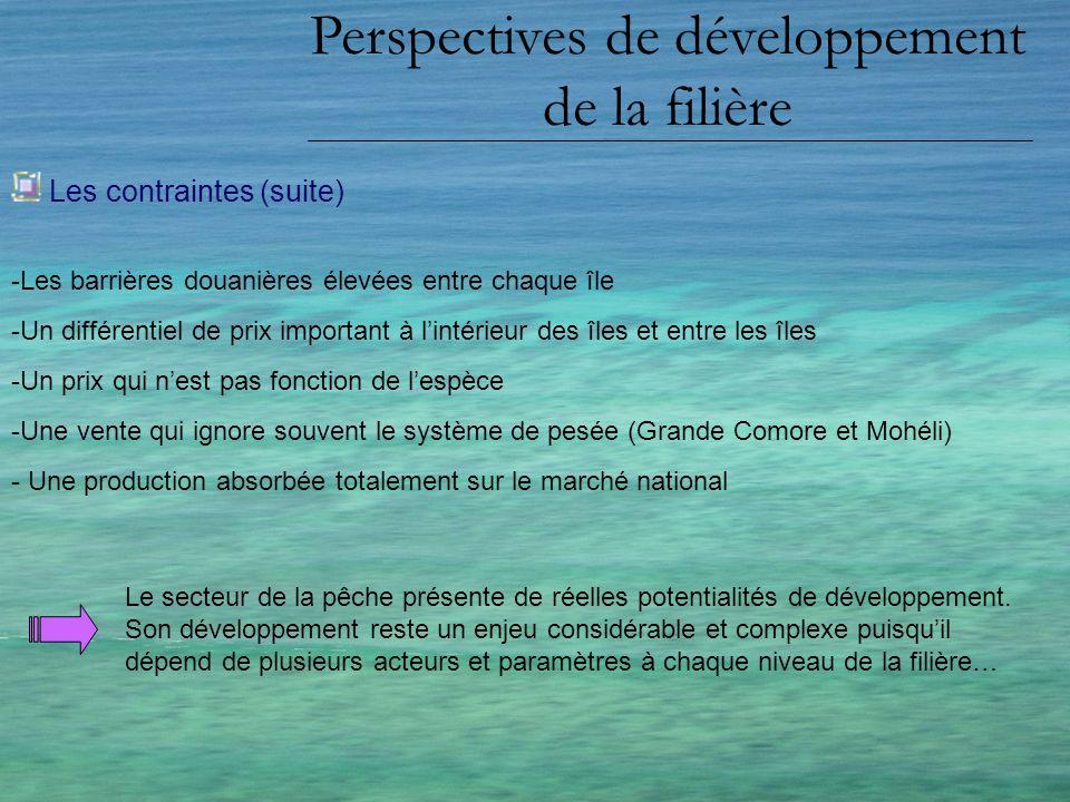 Perspectives de développement de la filière Les contraintes (suite) -Les barrières douanières élevées entre chaque île -Un différentiel de prix import