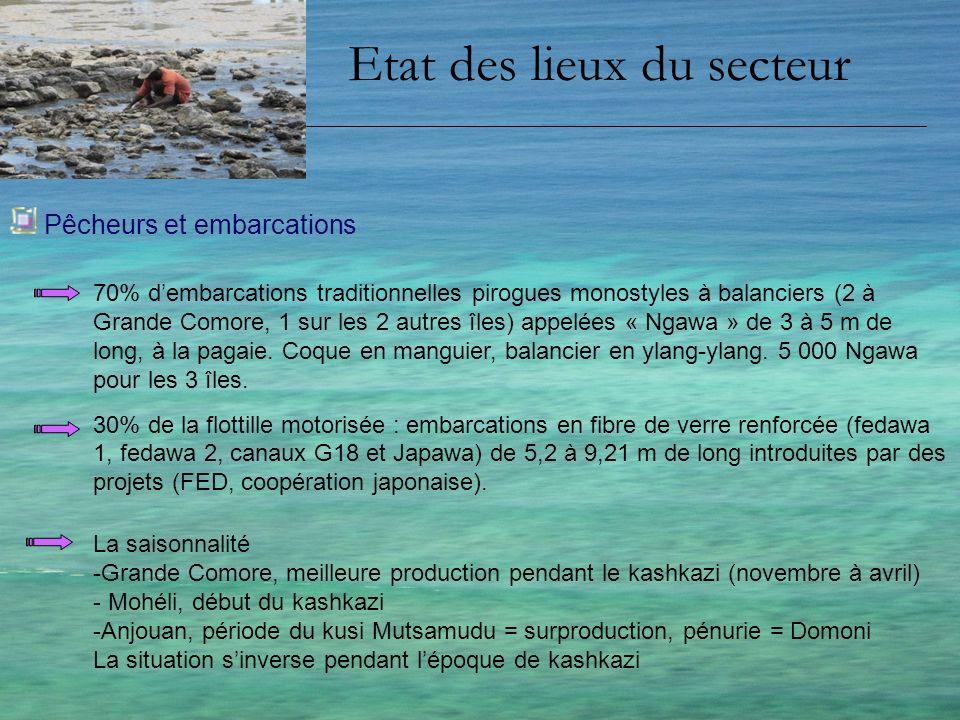 Etat des lieux du secteur Moyens de conservation - Moyens de conservation précaires voir inexistants : limitent les efforts daugmentation de la production en période dabondance - Salage-séchage peu répandu aux Comores car coût élevé du sel importé, prix bas du poisson salé-séché importé de Madagascar.