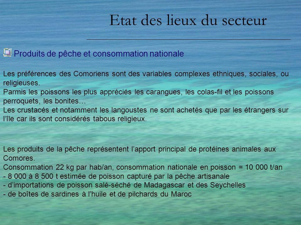 Etat des lieux du secteur Produits de pêche et consommation nationale Les produits de la pêche représentent lapport principal de protéines animales au