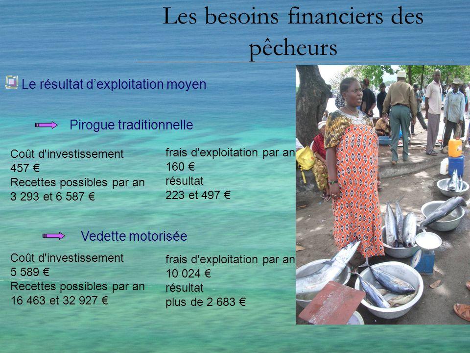 Les besoins financiers des pêcheurs Les crédits adaptés crédits pour linvestissement crédits pour linvestissement : montant important remboursement étalé sur plusieurs années (2 à 3 ans), pêcheur puisse mieux absorber ce lourd investissement.