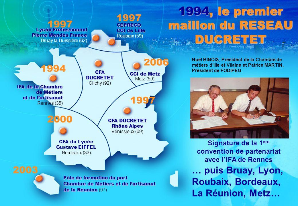 1994, le premier maillon du RESEAU DUCRETET CEPRECO CCI de Lille Roubaix (59) Lycée Professionnel Pierre Mendès France Bruay la Buissière (62) CCI de