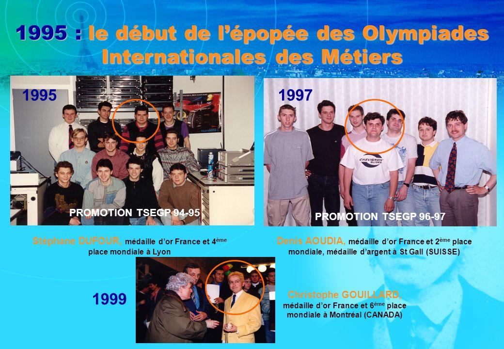 1995 : le début de lépopée des Olympiades Internationales des Métiers Stéphane DUFOUR, médaille dor France et 4 ème place mondiale à Lyon Denis AOUDIA