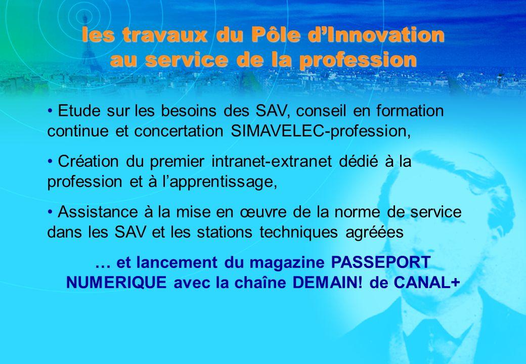 les travaux du Pôle dInnovation au service de la profession Etude sur les besoins des SAV, conseil en formation continue et concertation SIMAVELEC-pro
