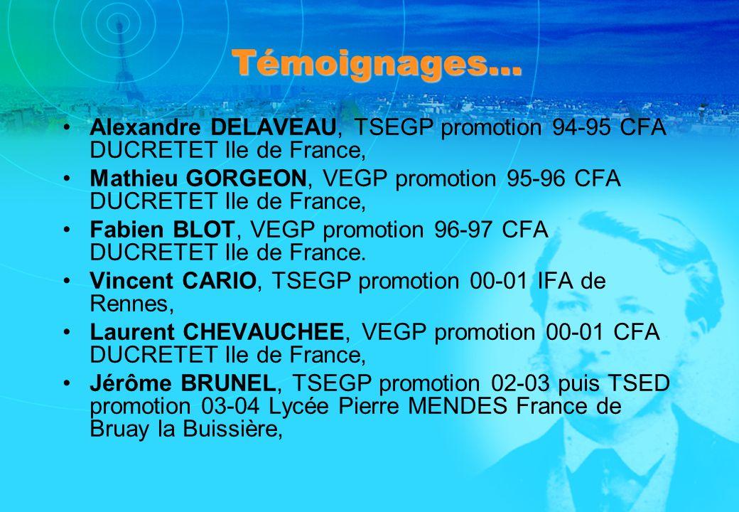 Témoignages… Alexandre DELAVEAU, TSEGP promotion 94-95 CFA DUCRETET Ile de France, Mathieu GORGEON, VEGP promotion 95-96 CFA DUCRETET Ile de France, F