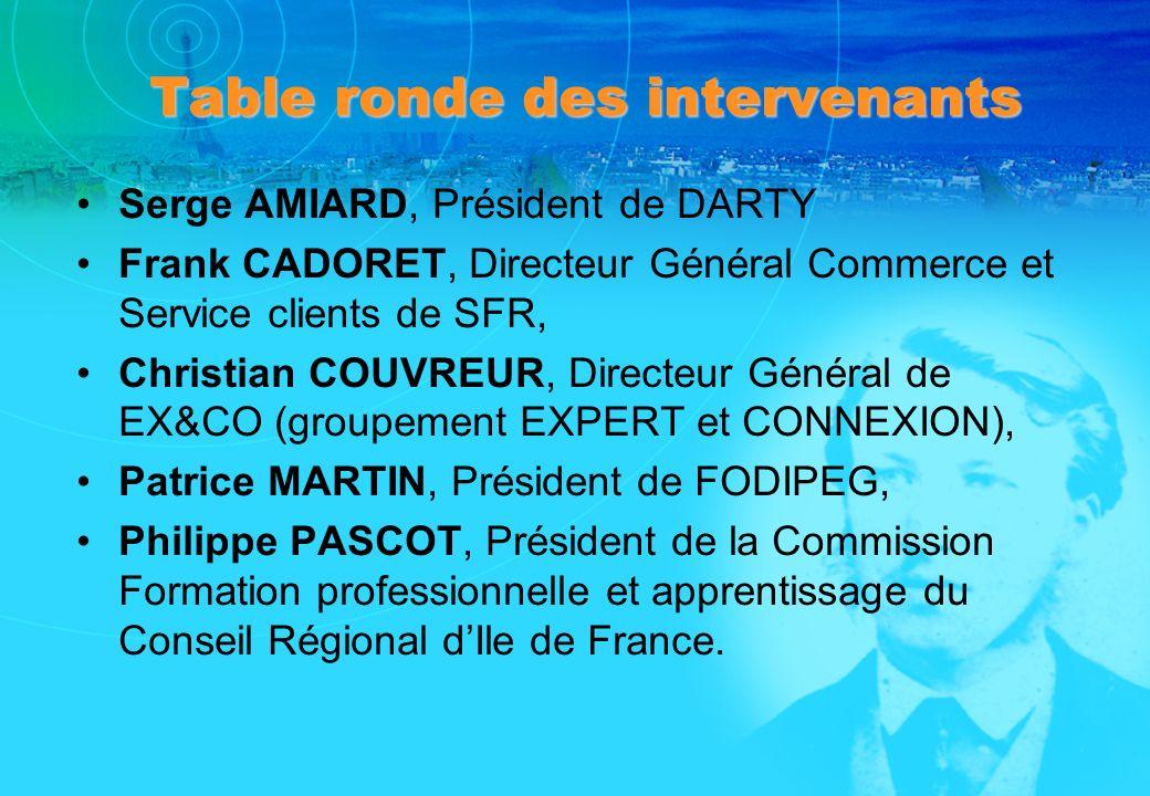 Table ronde des intervenants Serge AMIARD, Président de DARTY Frank CADORET, Directeur Général Commerce et Service clients de SFR, Christian COUVREUR,