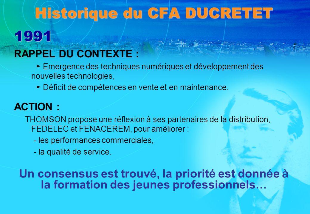 Historique du CFA DUCRETET 1991 RAPPEL DU CONTEXTE : Emergence des techniques numériques et développement des nouvelles technologies, Déficit de compé