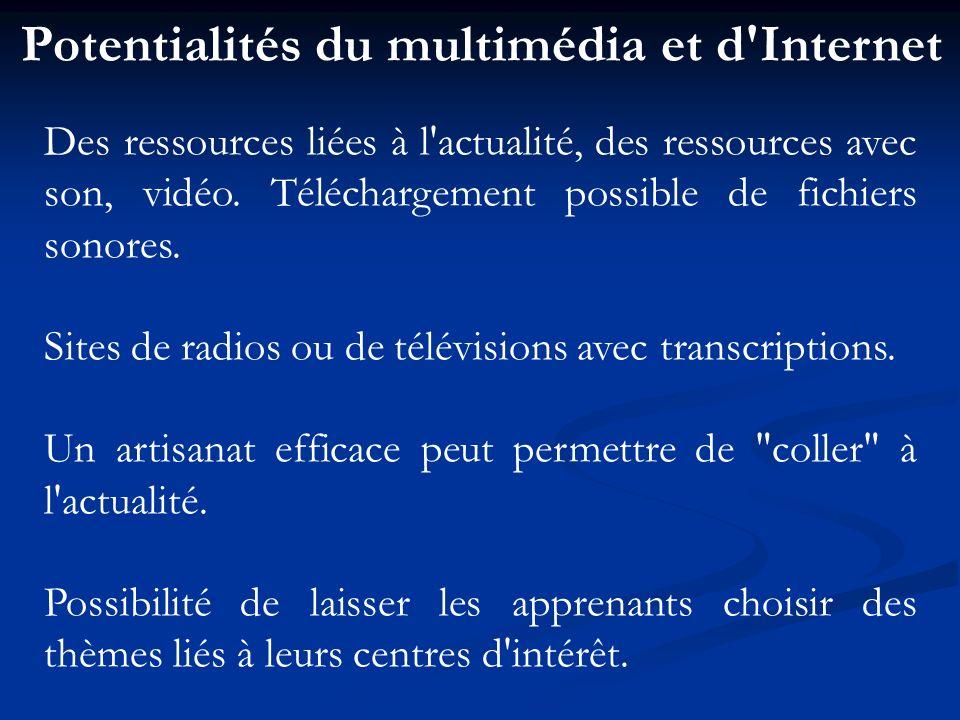 Potentialités du multimédia et d'Internet Des ressources liées à l'actualité, des ressources avec son, vidéo. Téléchargement possible de fichiers sono