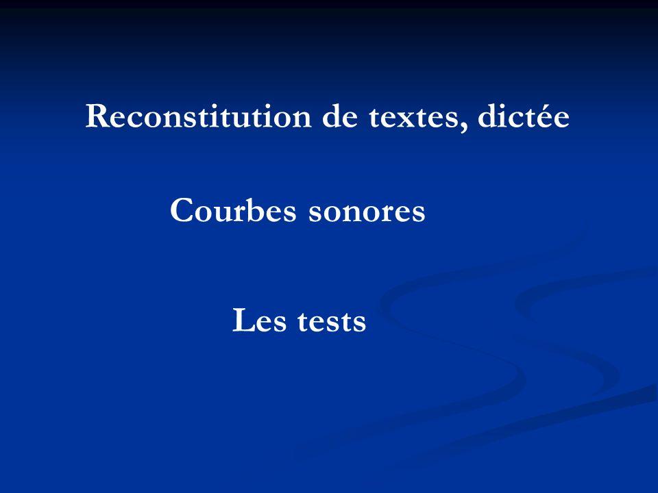 Les tests Reconstitution de textes, dictée Courbes sonores